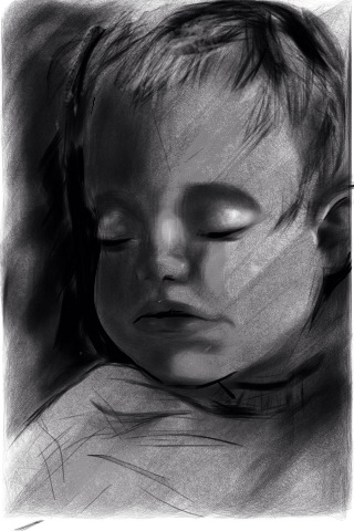 Life Drawing. iPhone sketch of a baby boy.