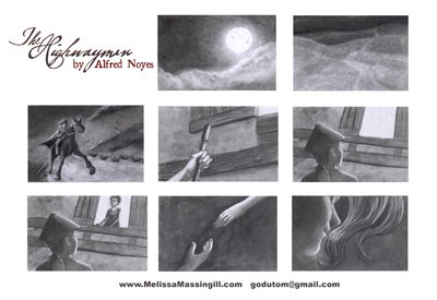 Storyboards for the opening of The Highwayman. Charcoal on 3x5