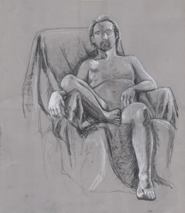 Life drawing. Charcoal and white chalk on colored paper.