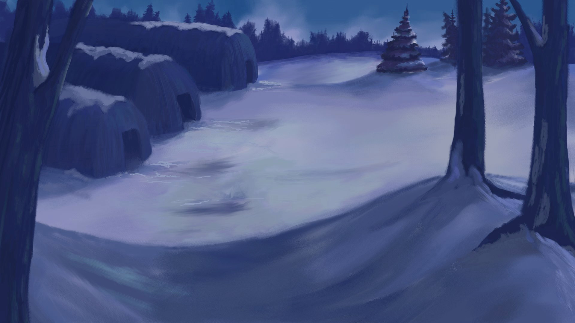 Animation background and overlay. Corel Painter.